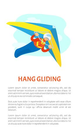 Hang gliding poster, portrait view of man wearing helmet and suit gliding with special flying equipment, postcard extreme or dangerous sport vector