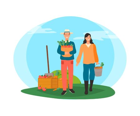 Man and woman carrying basket with veggies vector, container with harvested carrots, people working on field with vegetables and fruits growing isolated  イラスト・ベクター素材