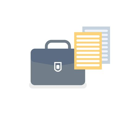 Documentation from briefcase vector, isolated icon of notebook and bag for documents. Business correspondence and published articles in black case