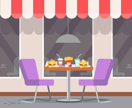 Served fast food on table of bistro vector. Canopy on roof of restaurant, burgers and soda drinks in plastic cups, french fries fried potato on desk