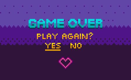 Game over and question of play again, yes or no choosing link, finish level page in purple color, pixelated graphic of final video-game, interface vector, 8 bit pixel text Illusztráció