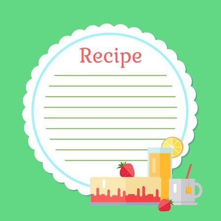 Recipe with clean grapes on green decorated cake with strawberry, fresh orange juice in glass, cup of tea. Empty cookbook with dessert and drink. Cooking recipe step by step instructions, ingredients Stock Illustratie