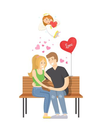 People in love relaxing vector, man and woman spending time together and sitting on bench. Balloon in form of heart, angel girl flying above couple Stock Vector - 126224558