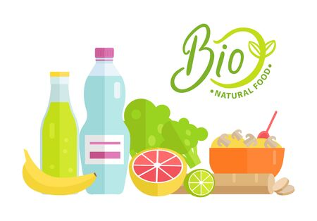 Natural bio food 100 percent organic vector, grapefruit and banana, bottle of fresh water, leaves and lime porridge in bowl served with spoon, dishes