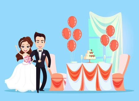 Table with wedding cake and decor vector, bride and groom, woman holding bouquet happy couple in love, balloons decoration, ribbons and stripes desk