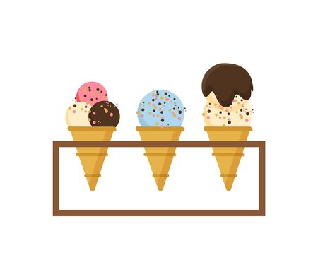 Ice cream set vector, isolated dessert with different tastes and fillings, crusty cone waffle with creme colored, yummy food in summer shop products