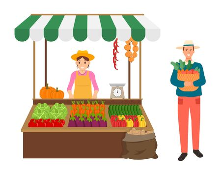 Person carrying basket with carrots vector, harvesting and selling production isolated tent with fruits and veggies in containers, pumpkin and peppers