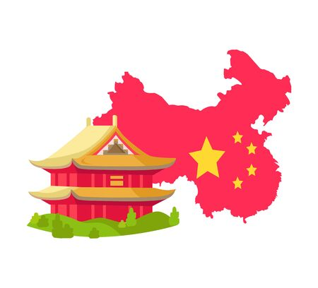 Map of country decorated by national flag, traditional Chinese building, historic house, asian sight. Flat design style of residential landmark vector