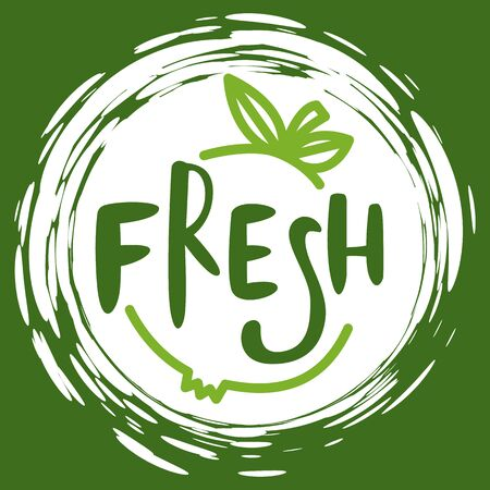 Fresh vegan food label, green poster natural and herbal product, 100 percent organic, healthy product, text fresh emblem, market sticker vector. Menu logo on white abstract watercolor lable Illustration