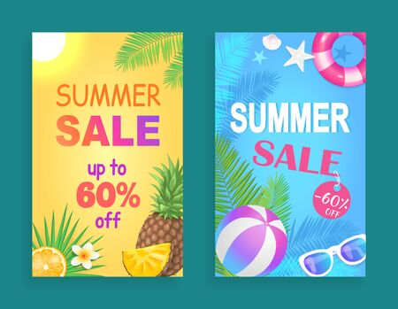 Summer sale seasonal offer, posters set with text and accessories. Inflatable ball and lifebuoy, pineapple and orange slice fruit, palm leaves vector
