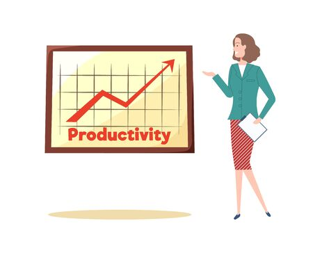 Strategy of businesswoman vector, lady with productivity booster on whiteboard, presentation of collected data, research results presenter with report