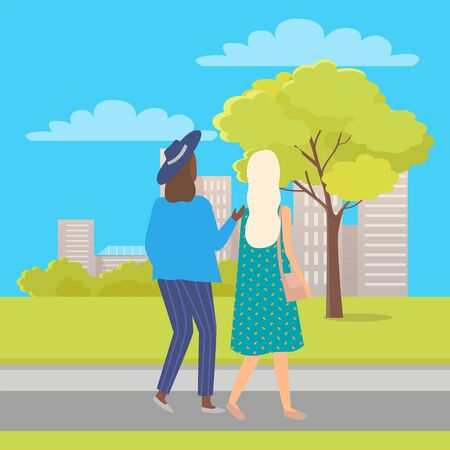 Two friends women back view walking in city park, trees and grass, summertime. Vector buildings and people on walk, girl with sack and in hat, fashionable ladies