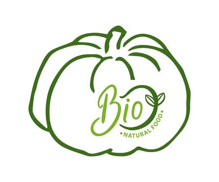 Pumpkin organic ingredients and food vector, bio meal fresh veggie, natural vegetable ecologically clean plant and production. Sketch with inscription