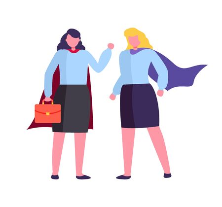 Business meeting of people vector, hero woman with briefcase lady wearing special super gowns powerful employees with case and documents, teamwork
