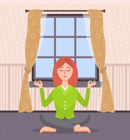 Calm woman sitting on floor vector, yoga and meditation leisure and relaxation of people. Home activities, person in room with yellow and brown interior Çizim