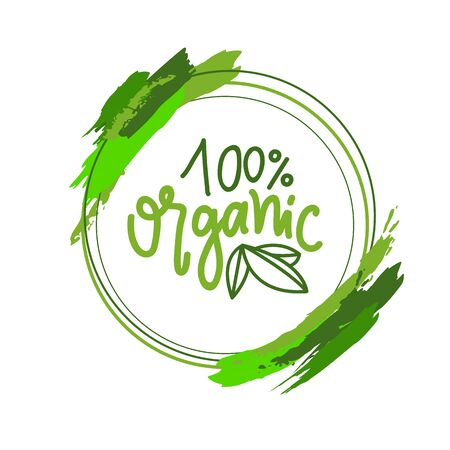 Organic food simple label, 100 percent guarantee isolated green creative logo in round frame with brush strokes. Vector greenery, leaves and quality sign