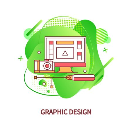 Graphic design application vector, monitor of computer with specialized info and tools for imagery. Abstract shapes and camera, modern devices gadgets for graphic designers Çizim