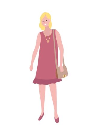 Blonde woman in purple dress with pendant on neck isolated cartoon character. Vector female, middle age lady with sack, mother or wife in flat style Illustration