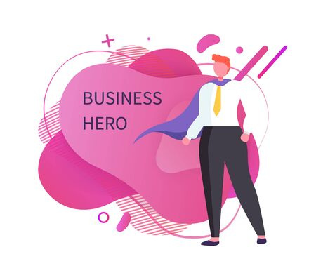 Male with robe vector, superhero in business field isolated man. Businessman on abstract background, worker standing in solemn posture, person wearing tie Иллюстрация