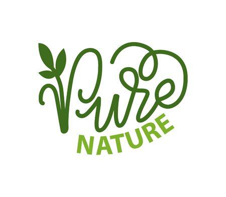 Lettering natura pura e calligrafia verde, logo con pianta da giardino isolata. Etichetta vettoriale dell'ambiente naturale amico dell'ecologia, logotipo organico foglia