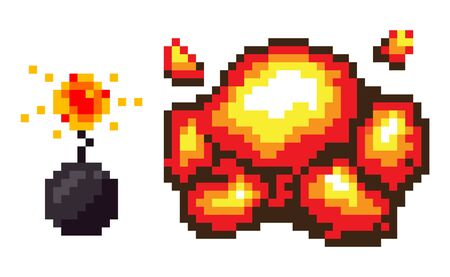 Bomb explosion vector, isolated set of pixel art game. Detonation pixelated icons dangerous substances weapons for attack and protection 8 bit graphics