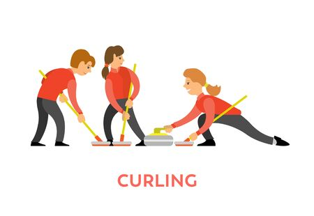 People playing curling using special bats and stone vector, man and woman opponents isolated. Team of youth leading active lifestyle flat style character