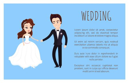 Wedding card happy newlywed couple dancing first dance. Vector just married husband and wife in wedding white dress and black suit holding hands, text sample