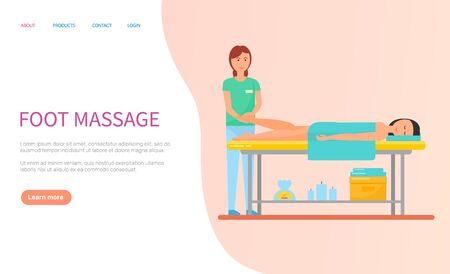 Masseuse making foot massage for client with towel. Flat webpage woman getting spa procedure, lying human on table, healthcare and relaxation vector