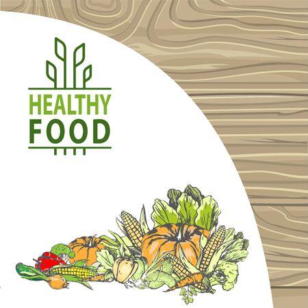 Naturproduktvektor, Bio-Lebensmittelerntebanner, Mais und Pfeffer, Laub und Karottenkürbis und Zwiebelmahlzeit frisches Bio-Obstgemüse. Logo für Menü von Bioprodukten auf Holzhintergrund Logo