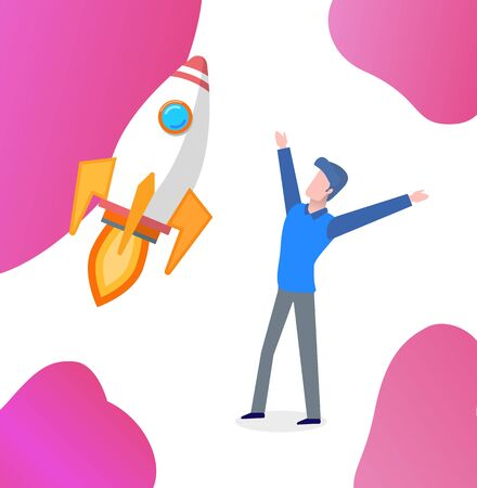 Happy entrepreneur with flying rocket vector. Successfully launched startup, businessman excited from success of project. Rapid pace speed of spaceship. New idea