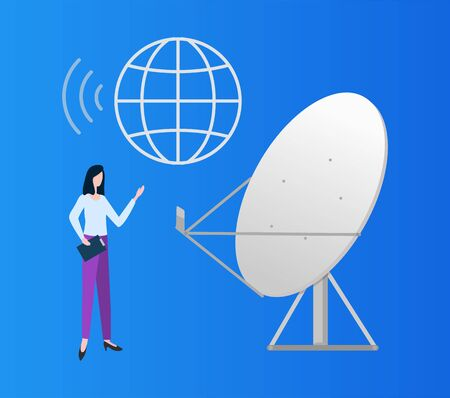 Satellite vector, globe in line flat style, woman using connection produced from station, dish and personal wireless communication cellular service