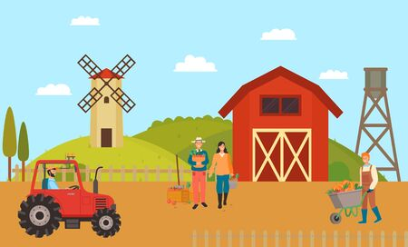 Farmhouse and farmers vector, man and woman working on field mill and tractor driver, person with carriage filled with ripe pumpkins, machinery on farm
