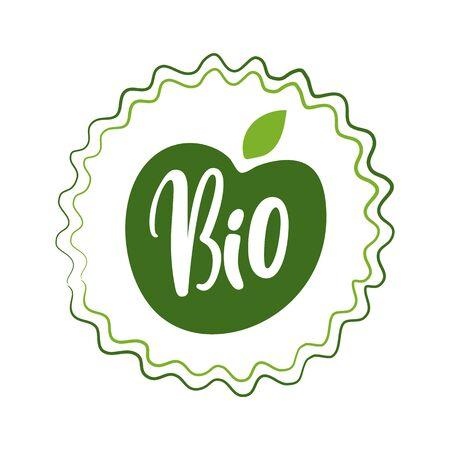 Ecological food vector, fresh ingredients 100 percent organic fresh bio elements emblems with foliage and green floral decor. Logotypes vegetal menu logo flat style