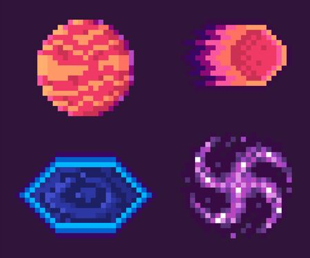 Pixel game vector, isolated planet with spots and flaming meteor falling inside, black hole celestial bodies asteroid graphics for pixelated 8 bit gaming process