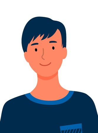 Brunette guy with elegant hairstyle isolated businessman profile view. Vector man in blue sweater, best worker of year or online consultant flat style design