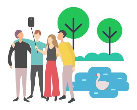 People spending time together vector, man and woman with selfie stick taking photo with swimming duck on pond, lake in park greenery of tree bushes