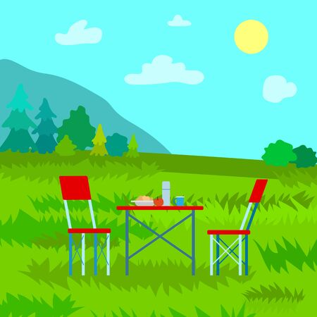 Picnic in mountains, table served by meal and flask, couple chairs. Landscape view on top, clouds and sun, forest and grass, dinning outdoor vector Иллюстрация