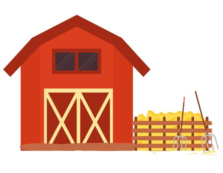 Farm house, hay and pitchfork near fence wooden building with agricultural equipments, farmland decoration element, ranch red house object vector