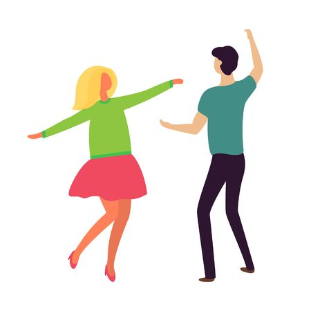 Passion dance of young couple boyfriend and girlfriend isolated. Vector dancing people in cartoon style, blond lady in pink dress and guy in black trousers Imagens - 126976105