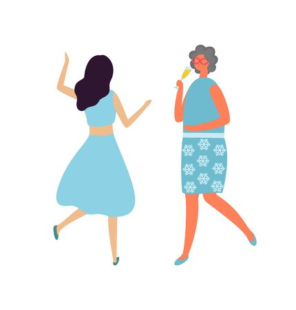Drunk woman with glass of champagne and dancing lady back view isolated cartoon character in flat style. Vector brunette girls at dance party, females at concert Illustration