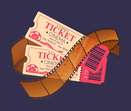 Cinema tickets vector, admission and entrance piece of paper with qr code and seats, date and info of purchase. Weekends entertainment and relaxation