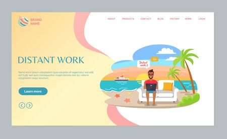 Distant work, man sitting with laptop on sofa, freelancer on beach, palmtree and sea. Portrait view of male working with computer, summertime frelance vector Illustration