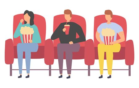 Friends spending time together in cinema vector, people sit in hall watching movie drink and eat popcorn, people gathered for entertainment and joyful time Ilustração