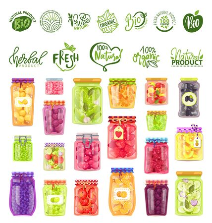 Natural ingredients vector, isolated set of logotypes eco meal and preserved food in pots, strawberries and raspberries, olives and peas, oranges tomato. Preserves jars with eco stikers