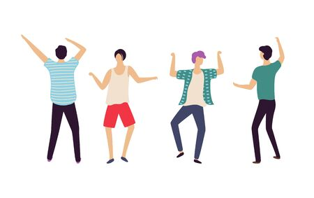 People dancing in club vector, man raising hands up and jumping, front and back view of males having fun in nightclub. Dancers and clubbers relaxing Illustration