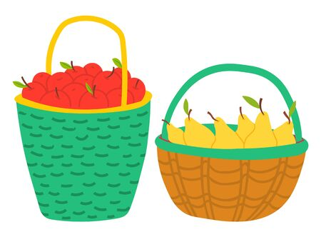Apples and pears in wooden and wicker basket, case with handle. Seasonal fruits, harvesting product, fresh sweet food, greengrocer in pottle, farm vector