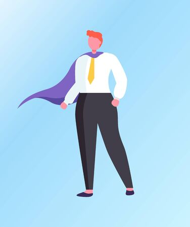 Man superhero isolated cartoon character. Vector businessman, powerful leader ready to solve tasks, confident male in tie and purple cloak, leadership