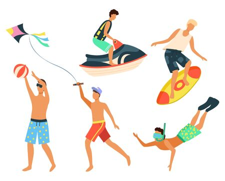 People using water transport for fun vector, isolated man standing on surfing board. Snorkeling diver wearing mask. Summertime sport. Kite sand jet machine summer activity