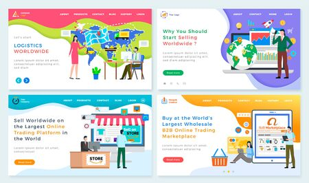 Logistics worldwide online trading platform in the world, largest wholesale B2 marketplace. Vector people collaborating, selling goods on globe trades. Web online page template, application of website