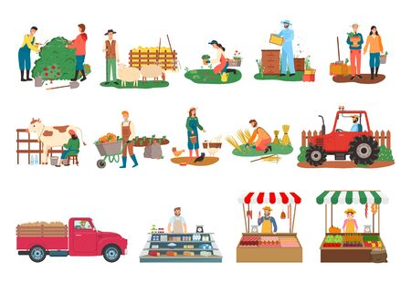 Farm activities vector, beekeeper and people cutting bushes, harvesting man and woman, milkmaid with cow, lady feeding chickens, tractor and sellers. Farmers market. Man and woman farming Illustration